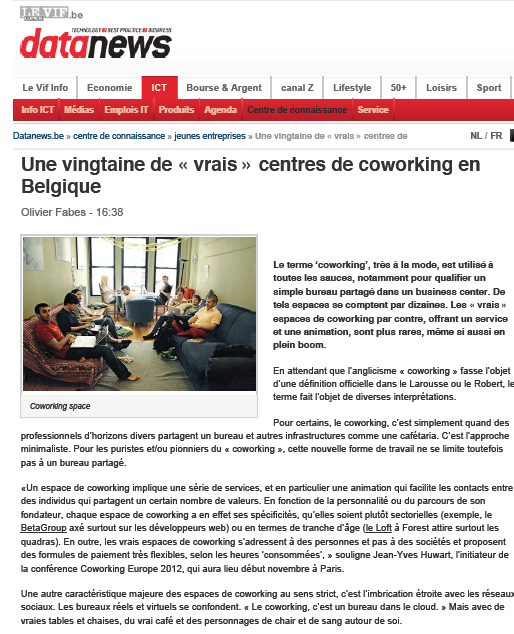 Coworking The LOFT - Datanews/Le VIF - 13/09/2012